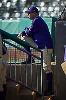 Western Carolina Catamounts head coach Bobby Moranda watches from the dugout during the game against the Saint Joseph's Hawks at TicketReturn.com Field at Pelicans Ballpark on February 23, 2020 in Myrtle Beach, South Carolina. The Hawks defeated the Catamounts 9-2. (Brian Westerholt/Four Seam Images)