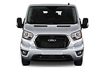Car photography straight front view of a 2021 Ford Transit XLT 4 Door Passenger Van Front View