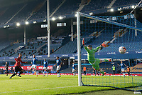 7th November 2020; Liverpool, England;  Manchester Uniteds Bruno Fernandes scores his first goal past a diving Everton goalkeeper Jordan Pickford Front during the Premier League match between Everton and Manchester United at Goodison Park