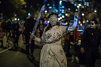 NEW YORK, NY - OCTOBER 31,2016. A woman in a costume representing justice takes part in Halloween celebrations held within 43rd annual Village Halloween parade in New York October 31, 2016 Photo by VIEWpress/Maite H. Mateo.
