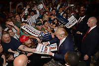 DORAL, FL - OCTOBER 23: Republican presidential candidate Donald Trump speaks at a campaign rally at Trump National Doral Miami Resort. Univision said crews from both the network and local affiliate were asked to leave Trump's event, according to Doral's Local 10 News. The station was reportedly cleared to cover the event, but crew members were told upon arrival by someone who appeared to be an off-duty police officer that they were not allowed on the property, which is owned by Trump, according to Local 10 News on October 23, 2015 in Doral, Florida. <br /> <br /> <br /> People:  Donald Trump