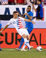 PHILADELPHIA, PA - JUNE 30: Aaron Long #23 passes the ball during a game between Curaçao and USMNT at Lincoln Financial Field on June 30, 2019 in Philadelphia, Pennsylvania.