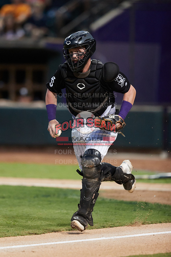 Winston-Salem Dash catcher Evan Skoug (9) chases a runner back towards third base during the game against the Asheville Tourists at Truist Stadium on September 17, 2021 in Winston-Salem, North Carolina. (Brian Westerholt/Four Seam Images)