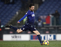 Football Soccer: Tim Cup semi-final second Leg, SS Lazio vs AC Milan, Stadio Olimpico, Rome, Italy, February 28, 2018.<br /> Lazio's Marco Parolo kicks a penalty during the shootout of the Tim Cup semi-final football match between SS Lazio vs AC Milan, at Rome's Olympic stadium, February 28, 2018.<br /> <br /> UPDATE IMAGES PRESS/Isabella Bonotto