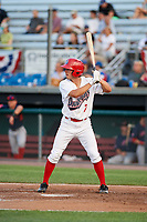 Auburn Doubledays third baseman Cole Daily (7) at bat during a game against the Lowell Spinners on July 13, 2018 at Falcon Park in Auburn, New York.  Lowell defeated Auburn 8-5.  (Mike Janes/Four Seam Images)