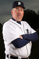 February 27, 2010:  Coach Jeff Jones (51) of the Detroit Tigers poses for a photo during media day at Joker Marchant Stadium in Lakeland, FL.  Photo By Mike Janes/Four Seam Images
