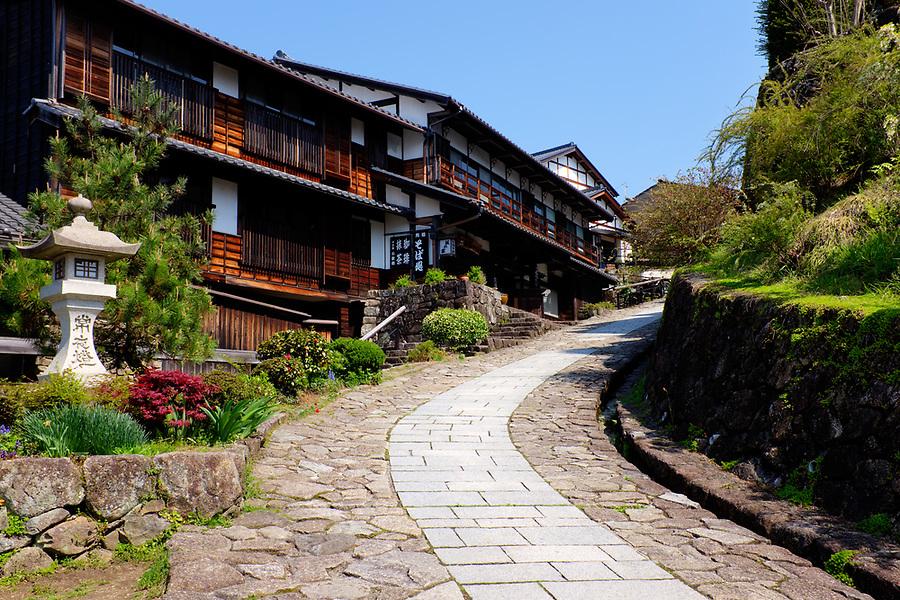 Nakasendo road passing through post town of Magome-juku, Kiso Valley, Gifu Prefecture, Japan