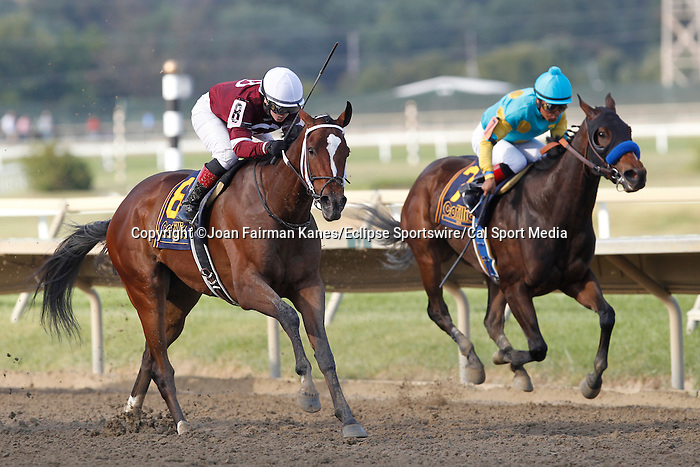 September 20, 2014:  Untapable (outside, #8), Rosie Napravnik up, wins the Grade I Cotillion Stakes at Parx Racing in Bensalem, PA. Trainer is Steve Asmussen. Owner is Winchell Thoroughbreds. Jojo Warrior, Martin Garcia up (right) was second.  Joan Fairman Kanes/ESW/CSM