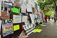 Washington, DC - June 15, 2020: Signs hang from a fence in Lafayette Park across from the White House, June 15, 2020, in the wake of the police killing of George Floyd in Minnesota.  (Photo by Don Baxter/Media Images International)