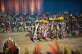 Kamayura and Kuikuro participants dance during the opening ceremony at the first ever International Indigenous Games, in the city of Palmas, Tocantins State, Brazil. Photo © Sue Cunningham, pictures@scphotographic.com 23rd October 2015