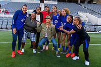 Los Angeles, CA - April 6, 2019: The USWNT trains at an open practice at Banc of California Stadium.