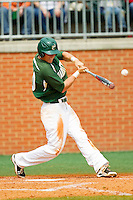 Justin Seager (10) of the Charlotte 49ers makes contact with the baseball against the Virginia Commonwealth Rams at Robert and Mariam Hayes Stadium on March 30, 2013 in Charlotte, North Carolina.  The 49ers defeated the Rams 9-8 in game one of a double-header.  (Brian Westerholt/Four Seam Images)