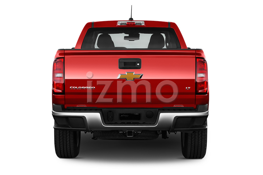 Straight rear view of a 2017 Chevrolet Colorado LT Crew Cab Long Box 4 Door Truck Rear View  stock images