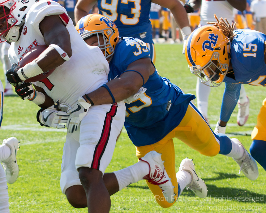 Pitt linebacker Saleem Brightwell makes a tackle. The North Carolina Wolfpack defeated the Pitt Panthers 35-17 at Heinz Field, Pittsburgh, PA on October 14, 2017.