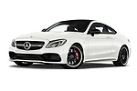 Stock pictures of low aggressive front three quarter view of a 2018 Mercedes Benz C-Class Coupe AMG C63 S 2 Door Coupe