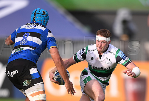 21st November 2020; Recreation Ground, Bath, Somerset, England; English Premiership Rugby, Bath versus Newcastle Falcons; Tom Penny of Newcastle Falcons tries to go round Zach Mercer of Bath
