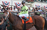 31 May 2010: Quality Road and jockey John Velazquez in the winner's circle after winning the Metropolitan Mile Handicap at Belmont Park in Elmont NY.