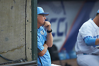 North Carolina Tar Heels head coach Mike Fox watches from the dugout during the game against the Miami Hurricanes in the second semifinal of the 2017 ACC Baseball Championship at Louisville Slugger Field on May 27, 2017 in Louisville, Kentucky. The Tar Heels defeated the Hurricanes 12-4. (Brian Westerholt/Four Seam Images)