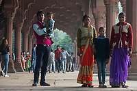 People gather and take pictures in the  Diwan-i-Aam (public audience hall) inside the Red Fort in Delhi, India, on Tue., Dec. 11, 2018.
