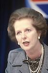 Mrs Margaret Thatcher 1983 General Election press conference London UK 1980s.
