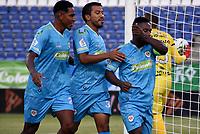 MONTERIA - COLOMBIA, 07-03-2021: Pablo Rojas de Jaguares de Cordoba F.C. celebra el primer gol anotado a Patriotas Boyaca F. C. durante partido entre Jaguares F. C. y Patriotas Boyaca F. C. de la fecha 11 por la Liga BetPlay DIMAYOR I 2021, en el estadio Jaraguay de Monteria de la ciudad de Monteria. / Pablo Rojas of Jaguares de Cordoba F.C. celebrates the first scored goal to Patriotas Boyaca F. C., during a match between Jaguares F. C. and Patriotas Boyaca F. C., of the 11th date for the Betplay DIMAYOR I 2021 League at Jaraguay de Monteria Stadium in Monteria city. Photo: VizzorImage / Andres Lopez / Cont.