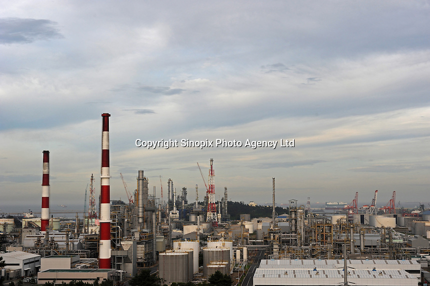 A large petro-chemical plant in the industrial port city of Ulsan, South Korea.