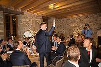 Switserland, Genève, September 16, 2015, Tennis,   Davis Cup, Switserland-Netherlands, location of the official diner, Domaine du Clos Du Chateau,  Tim van Rijthoven is being presented<br /> Photo: Tennisimages/Henk Koster