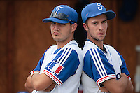 19 August 2010: Joris Navarro of Team France poses next to Quentin Pourcel during France 7-6 win over Slovakia, at the 2010 European Championship, under 21, in Brno, Czech Republic.