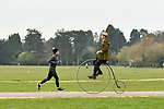 Pictured: Stuart Mason-Elliott, also known as Mr Samuel Pickwick as President of the oldest cycling club in the world The Pickwick Bicycle Club, rides his original 1872 Coventry Machinist Company penny farthing wearing the traditional club uniform at Southampton Common in Southampton, Hants.<br /> <br /> Stuart rides a 22 kilogram, iron frame penny farthing which is believed to be one of the first bicycles ever made. The wheel diameter is 48 inches, with each bicycle being specially tailored to the leg length of the rider.<br /> <br /> Stuart was elected president of The Pickwick Bicycle Club, formed in 1870for the second consecutive year, due to Covid-19 restrictions on club activities. Members wear the traditional club uniform of a yellow and black striped blazer, waistcoat with a straw boater hat and are also assigned a sobriquet of a character from The Pickwick Papers, which they represent.<br /> <br /> © Jordan Pettitt/Solent News & Photo Agency<br /> UK +44 (0) 2380 458800