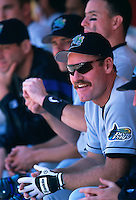 OAKLAND, CA - Wade Boggs of the Tampa Bay Devil Rays watches from the dugout during a game against the Oakland Athletics at the Oakland Coliseum in Oakland, California in 1998. Photo by Brad Mangin