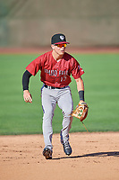 Brady McConnell (15) of the Idaho Falls Chukars on defense against the Ogden Raptors at Lindquist Field on August 9, 2019 in Ogden, Utah. The Raptors defeated the Chukars 8-3. (Stephen Smith/Four Seam Images)