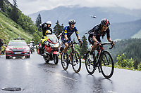 Richard Carapaz (ECU/Ineos Grenadiers) and Mattia Cattaneo (ITA/Deceuninck-Quick Step) up the Col de la Colombière<br /> <br /> Stage 8 from Oyonnax to Le Grand-Bornand (150.8km)<br /> 108th Tour de France 2021 (2.UWT)<br /> <br /> ©kramon