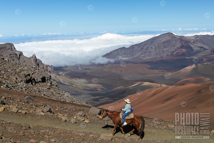 A horseback rider on a tour of Haleakala National Park, Maui.