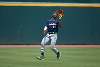 Thad Ector (15) of Starr's Mill HS in Tyrone, GA playing for the Milwaukee Brewers scout team tracks a fly ball during the East Coast Pro Showcase at the Hoover Met Complex on August 2, 2020 in Hoover, AL. (Brian Westerholt/Four Seam Images)