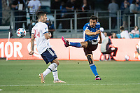 SAN JOSE, CA - AUGUST 13: Oswaldo Alanis #4 of the San Jose Earthquakes passes the ball during a game between San Jose Earthquakes and Vancouver Whitecaps at PayPal Park on August 13, 2021 in San Jose, California.