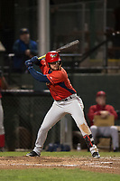 Orem Owlz first baseman Connor Fitzsimons (14) at bat during a Pioneer League game against the Helena Brewers at Kindrick Legion Field on August 21, 2018 in Helena, Montana. The Orem Owlz defeated the Helena Brewers by a score of 6-0. (Zachary Lucy/Four Seam Images)