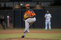 AZL Giants Orange relief pitcher Yoel Veras (67) delivers a pitch during an Arizona League game against the AZL Athletics at Lew Wolff Training Complex on June 25, 2018 in Mesa, Arizona. AZL Giants Orange defeated the AZL Athletics 7-5. (Zachary Lucy/Four Seam Images)
