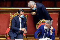The Italian Premier Giuseppe Conte, the centrist senator Mario Monti and the Minister of Defense Lorenzo Guerini during the information at the Senate about the government crisis.<br /> Rome(Italy), January 19th 2021<br /> Photo Pool Stefano Carofei/Insidefoto