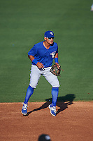 Dunedin Blue Jays second baseman Christian Lopes (11) during a game against the Clearwater Threshers on April 8, 2016 at Bright House Field in Clearwater, Florida.  Dunedin defeated Clearwater 8-3.  (Mike Janes/Four Seam Images)