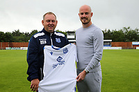 Enfield FC Manager Matt Hanning  and Enfield FC captain Ben Bradbury during a media event at Enfield FC on 27th June 2020