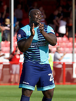 Adebayo Akinfenwa of Wycombe Wanderers after the Sky Bet League 2 match between Crawley Town and Wycombe Wanderers at Broadfield Stadium, Crawley, England on 6 August 2016. Photo by Alan  Stanford / PRiME Media Images.