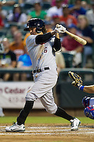Sacramento River Cats third baseman Wes Timmons #6 swings during the Pacific Coast League baseball game against the Round Rock Express on May 22, 2012 at The Dell Diamond in Round Rock, Texas. The Express defeated the River Cats 11-5. (Andrew Woolley/Four Seam Images)