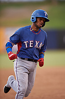 AZL Rangers Keyber Rodriguez (22) rounds the bases after hitting a home run during an Arizona League game against the AZL Brewers Blue on July 11, 2019 at American Family Fields of Phoenix in Phoenix, Arizona. The AZL Rangers defeated the AZL Brewers Blue 5-2. (Zachary Lucy/Four Seam Images)