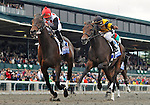 Brilliant Speed (no. 5), ridden by Joel Rosario and trained by Thomas Albertrani, wins the 87th running of the grade 1 Blue Grass Stakes for three year olds on April 16, 2011 at Keeneland in Lexington, Kentucky.  (Bob Mayberger/Eclipse Sportswire)
