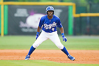 Jerrell Allen (9) of the Burlington Royals takes his lead off of first base against the Princeton Rays at Burlington Athletic Park on July 5, 2013 in Burlington, North Carolina.  The Royals defeated the Rays 5-4 in game two of a doubleheader.  (Brian Westerholt/Four Seam Images)