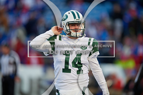 New York Jets quarterback Sam Darnold (14) during an NFL football game against the Buffalo Bills, Sunday, December 9, 2018, in Orchard Park, N.Y.  (Mike Janes Photography)