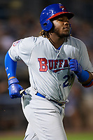 Buffalo Bisons third baseman Vladimir Guerrero Jr. (27) jogs to first base during a game against the Syracuse Chiefs on September 2, 2018 at NBT Bank Stadium in Syracuse, New York.  Syracuse defeated Buffalo 4-3.  (Mike Janes/Four Seam Images)