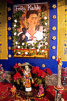 Day of the Dead altar in the Frida Kahlo Museum in the Coyoacan section of Mexico City. Dia de los Muertos. 1040324 celebration, holiday. Mexico City, Mexico.