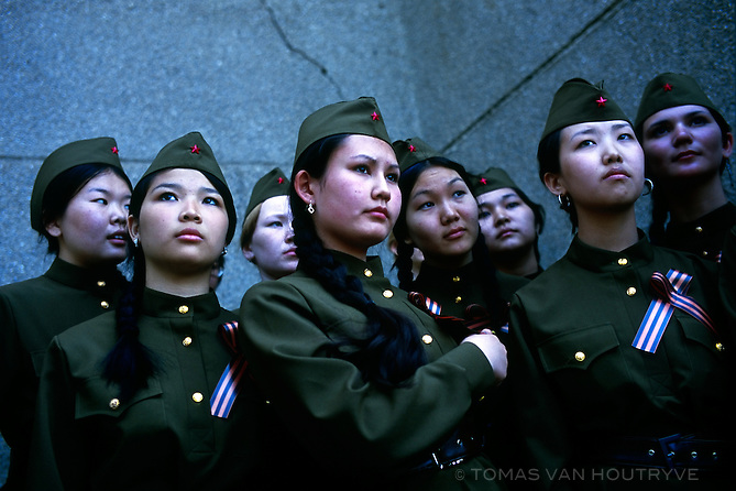 Girls wear soviet era military uniforms as part of Victory Day celebrations in Elista, Republic of Kalmykia, Russian Federation on May 7, 2010.