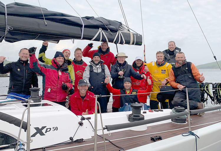 Conor Doyle's Freya crew from Kinsale Yacht Club celebrate their line honours victory in the 2021 Dun Laoghaire To Dingle race after crossing the Dingle, County Kerry finish early this morning in an elapsed time of 1d 15h 16m 50s